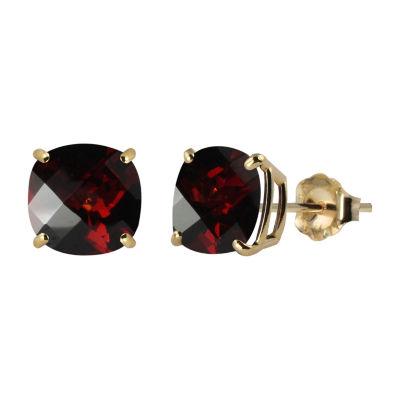 Genuine Red Garnet 10K Gold 8mm Stud Earrings