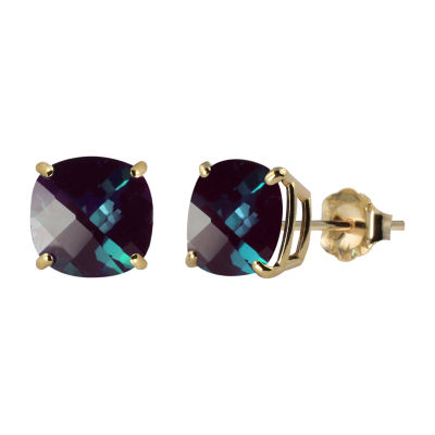 Lab Created Blue Alexandrite 10K Gold 8mm Stud Earrings