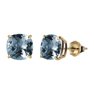 Lab Created Blue Spinel 10K Gold 8mm Stud Earrings