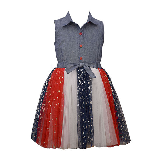 Bonnie Jean Americana Toddler Girls Sleeveless Shirt Dress