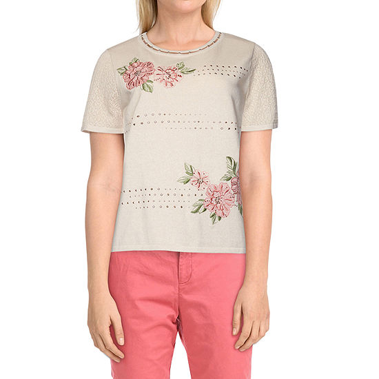 Alfred Dunner Springtime In Paris Womens Crew Neck Short Sleeve Floral Pullover Sweater