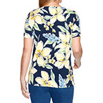 Alfred Dunner Lazy Daisy Womens Crew Neck Short Sleeve T-Shirt