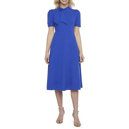 Vintage Style Dresses | Vintage Inspired Dresses Ivy  Blue Short Sleeve Midi Fit  Flare Dress 6  Blue $38.49 AT vintagedancer.com