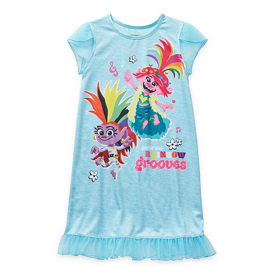 Little & Big Girls Trolls Short Sleeve Crew Neck Nightgown