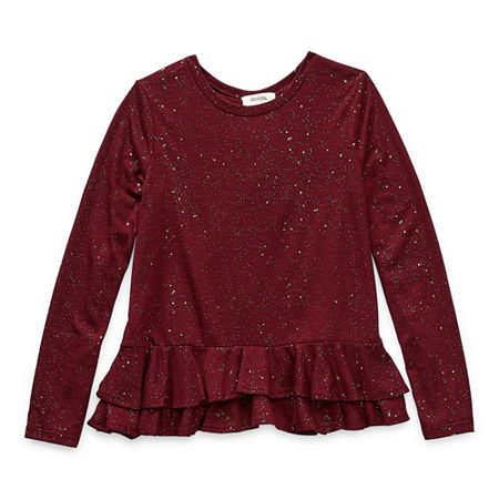Speechless Big Girls Scoop Neck Long Sleeve Tunic Top, X-large , Red