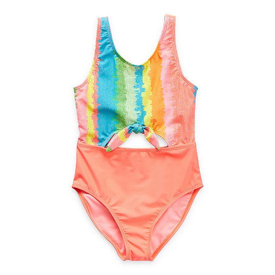 Arizona Little & Big Girls Striped One Piece Swimsuit