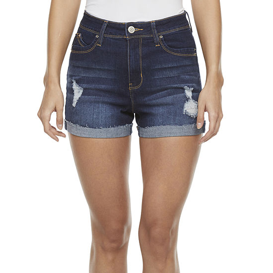 Ymi Womens High Rise Stretch Shortie Short-Juniors