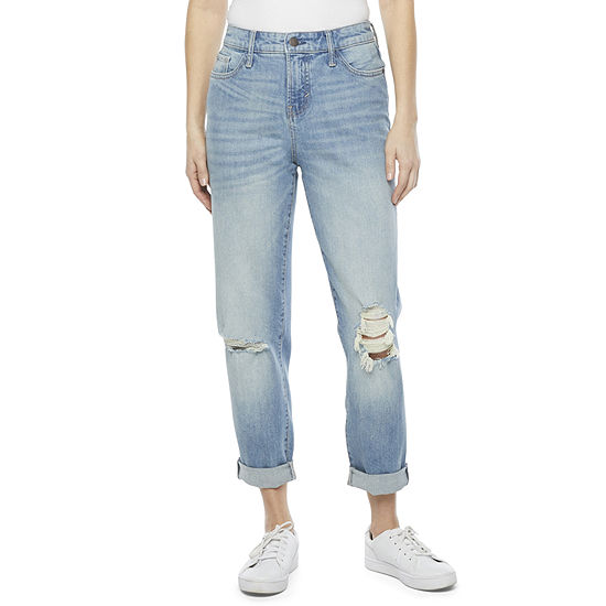 a.n.a Womens Mid Rise Straight Fit Boyfriend Jean