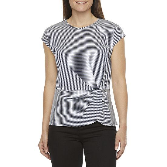 Liz Claiborne Womens Crew Neck Short Sleeve Blouse