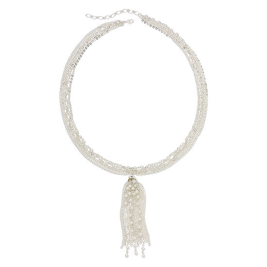 Vieste® Simulated Pearl and Tassel Multi-Chain Necklace