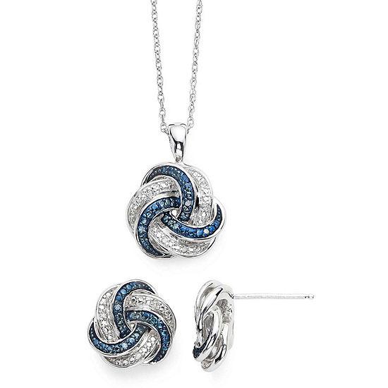 d13c5786dc0b5 1/10 CT. T.W. White and Color-Enhanced Blue Diamond Love Knot Pendant 2-pc.  Set