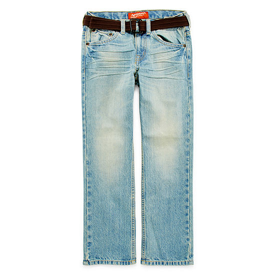Arizona Belted Original Fit Jeans Boys 8 20 Slim And Husky