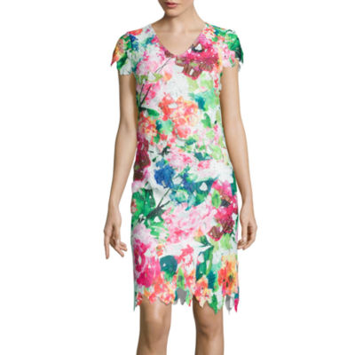 Donna Ricco Cap-Sleeve Floral Print Lace Sheath Dress