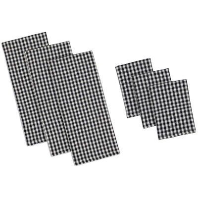 Design Imports Black Check Heavyweight Set of 3 Kitchen Towels and Dishcloths