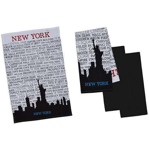 Design Imports New York Set of 4 Kitchen Towels