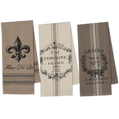 Design Imports French Grain Sack Set of 3 Kitchen Towels