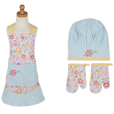 Design Imports Flower Party Kids Apron and Chef Gift Set
