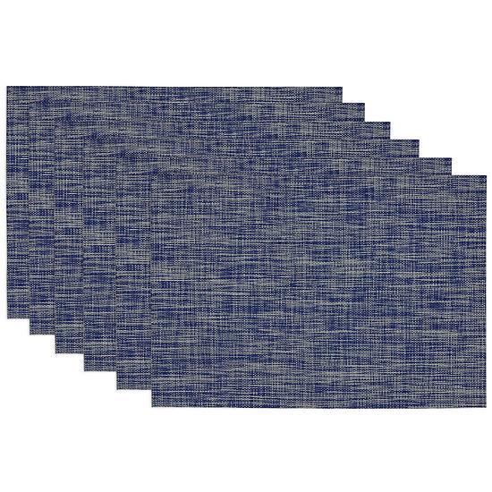 Design Imports Nautical Blue Tonal Set of 6 Tweed Placemats