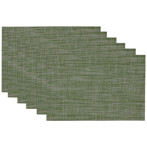 Design Imports Fig Green Tonal Tweed Set of 6 Placemats