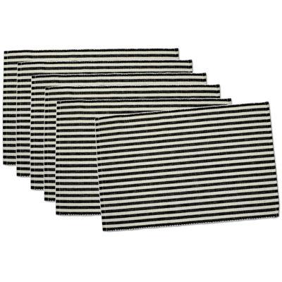 Design Imports Black Petite Stripe Set of 6 Placemats