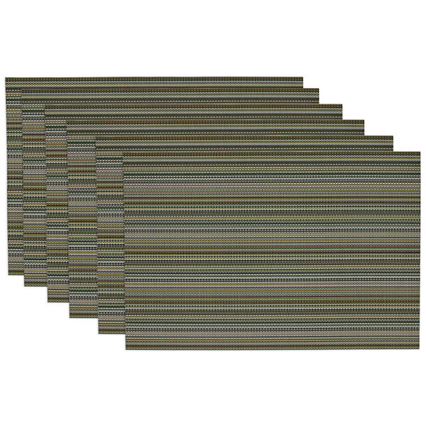 Design Imports Vineyard Green Micro Stripe Set of 6 Placemats