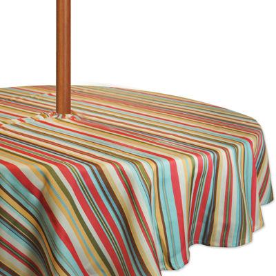 Design Imports Stripe Umbrella Round Tablecloth