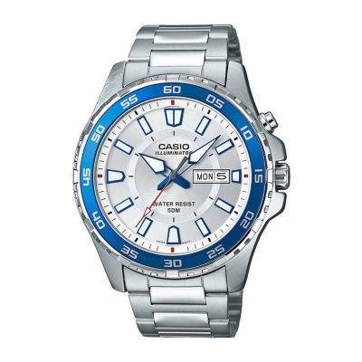 Casio Illuminator Mens Silver Tone Bracelet Watch-Mtd-110d-7av