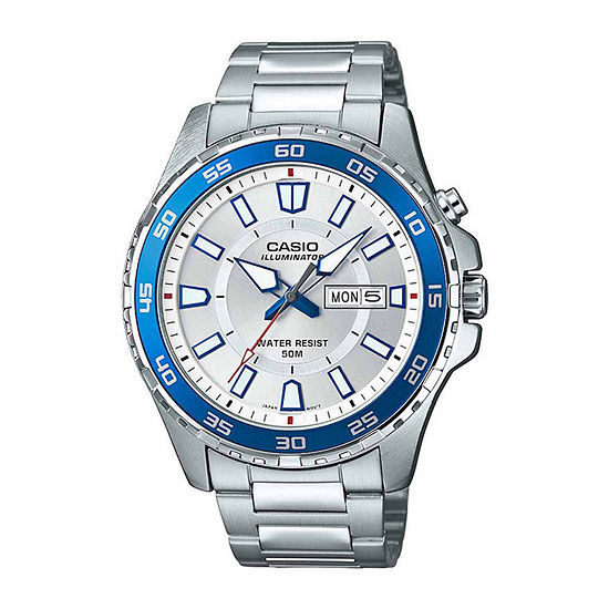Casio Illuminator Mens Silver Tone Stainless Steel Bracelet Watch-Mtd-110d-7av
