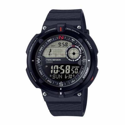 Casio® Twin Sensor Mens Black Strap Watch - Sgw-600h-1b