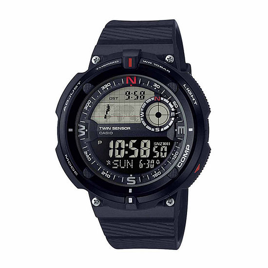 Casio Twin Sensor Mens Digital Black Strap Watch-Sgw-600h-1b