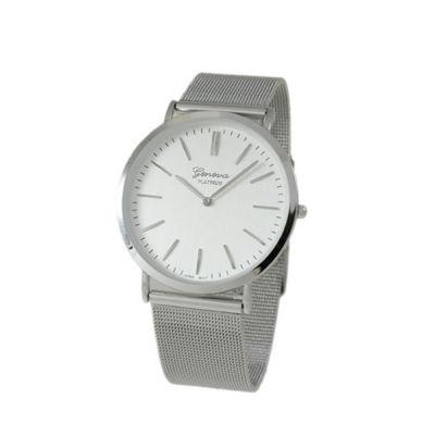 Geneva Platinum Womens Silver Tone Strap Watch-1513