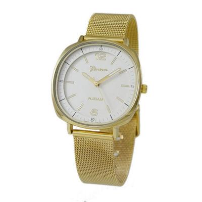 Geneva Platinum Womens Gold Tone Strap Watch-1528