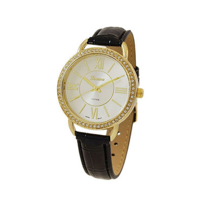 Geneva Platinum Womens Black Strap Watch-5932