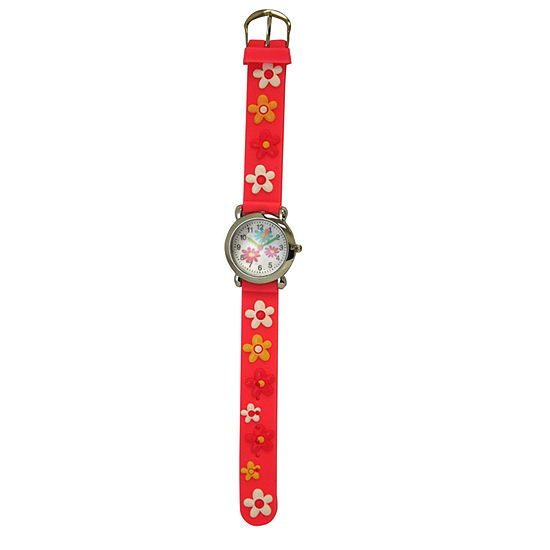 Olivia Pratt Flower Unisex Adult Pink Strap Watch-17189