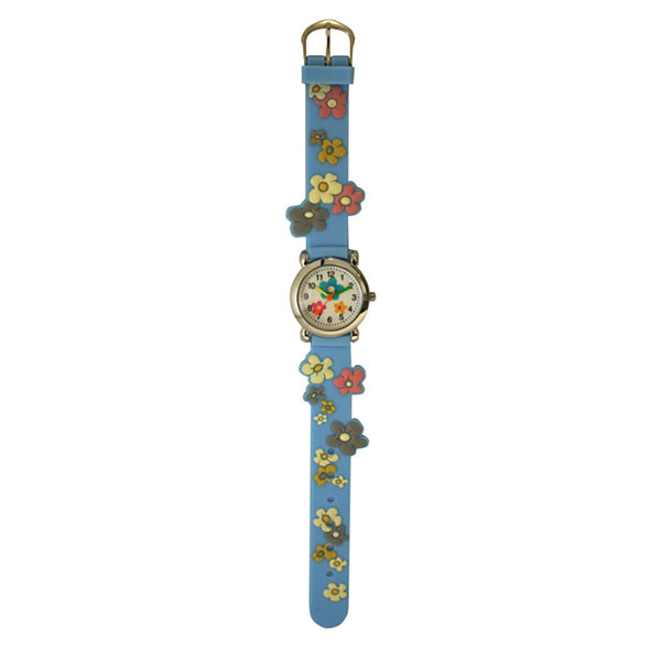 Olivia Pratt Flowers Unisex Blue Strap Watch-17813