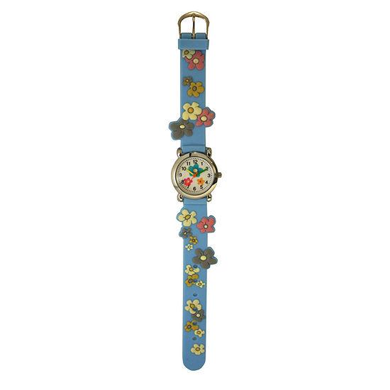 Olivia Pratt Flowers Unisex Blue Strap Watch-17813