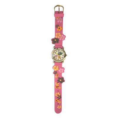 Olivia Pratt Flowers Unisex Pink Strap Watch-17813