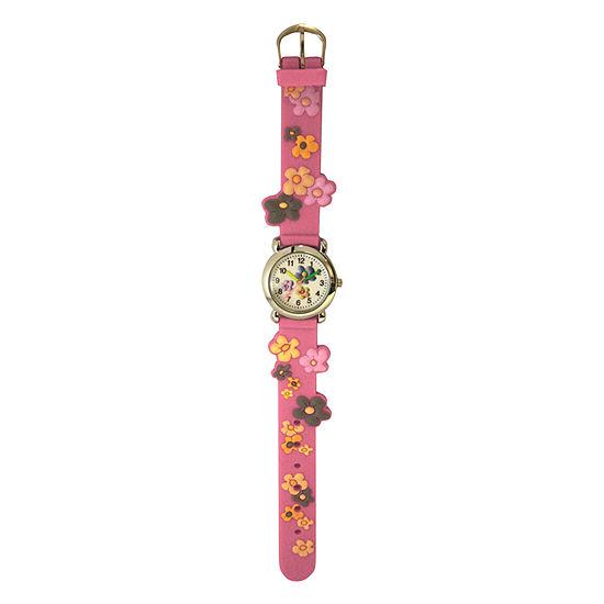 Olivia Pratt Flowers Womens Pink Strap Watch-17813