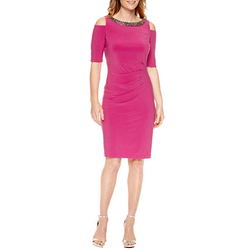 Scarlett Short Sleeve Cold Shoulder Sheath Dress