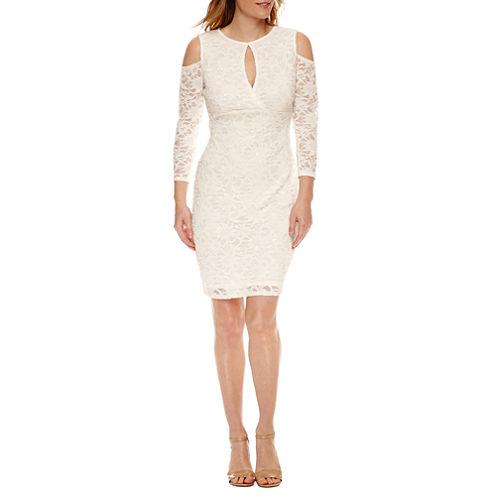 Blu Sage3/4 Sleeve Cold Shoulder Sheath Dress
