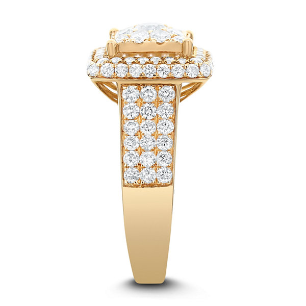 Limited Quantites Womens 2 CT. T.W. Genuine White Diamond 14K Gold Cocktail Ring