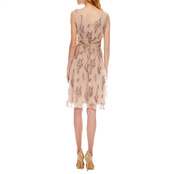 Scarlett Sleeveless Embroidered Pattern Fit & Flare Dress-Talls