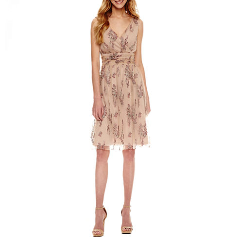 Scarlett Sleeveless Embroidered Pattern Fit & Flare Dress-Talls