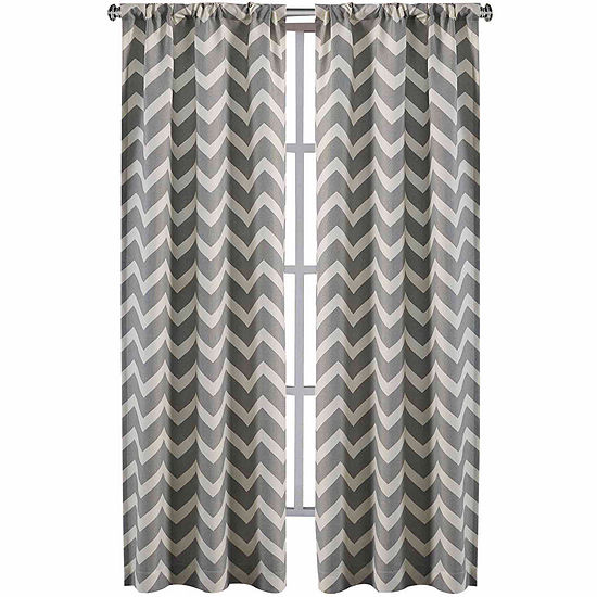 Home Expressions Rhett 2-Pack Chevron Rod-Pocket Curtain Panels