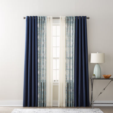 jcpenney.com | JCPenney Home Quinn, Batiste Paisley, & Batiste Solid Sheer Grommet-Top Curtain Panels