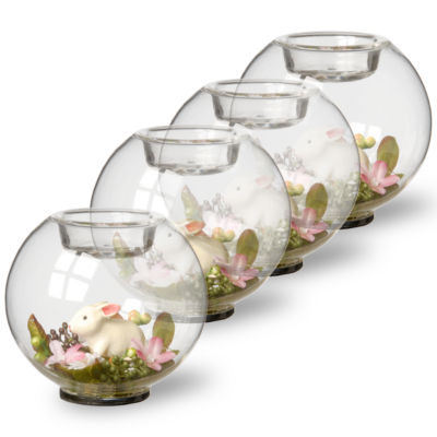 Set of Four Bunny Glass Candleholders