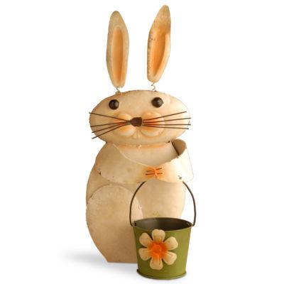 "23"" Metal Rabbit with Flower Pot"""