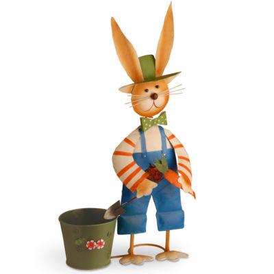 "27"" Metal Male Rabbit with Pot Decoration"""