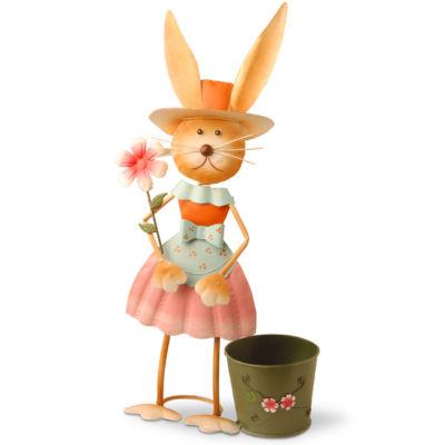 "27"" Metal Female Rabbit with Pot Decoration"""