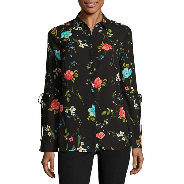 Worthington Long Tie Sleeve Button-Front Blouse